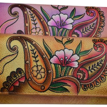 Cazoro Women's Genuine Leather Handpainted Floral Deluxe Clutch Wallet