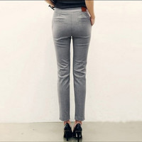 Office Ladies Gray Black Pencil Pants Formal Capris For Women Slim Fit Dress Pants Pantalon Femme