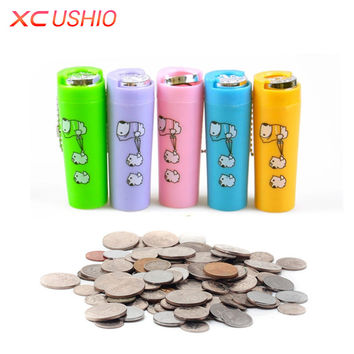 1pc Creative Lovely Coin Cylinder Portable Cartoon Mini Coin Box Cylindrical Coin Holder Case with Key Chains Money Saving Box