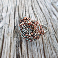 Rose Copper Wire Wrap Adjustable Ring