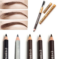 Waterproof Eyebrow Pencil With Brush, 5 Colors