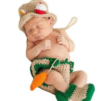 Newborn Infant Baby Fisherman Hat Dipaer Boots Fish set Handmade Knit Crochet Baby pho