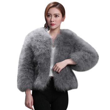 Female Jacket Women Faux Fur Ostrich Feather Soft Fur Coat Jacket Fluffy Winter Xmax Warm Fashion Solid Big Size Outwear