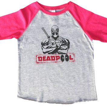 Deadpool BOYS OR GIRLS BASEBALL 3/4 SLEEVE RAGLAN - VERY SOFT TRENDY SHIRT B358