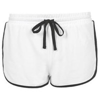 Sporty Side Step Runner Shorts - White
