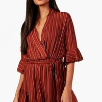 Anouk Striped Wrap Flare Sleeve Playsuit | Boohoo