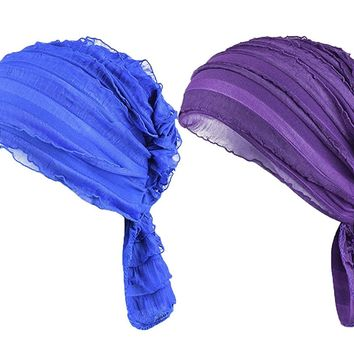 Staringirl Women 2 Pack Ruffle Chemo Hat Beanie Head Scarf Hair Coverings Cancer Caps