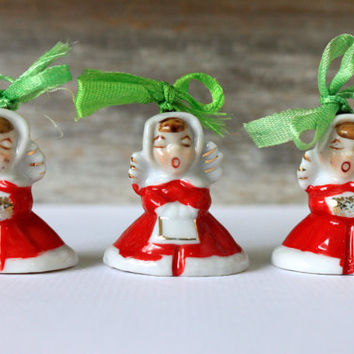 vintage Christmas bells porcelain angel carolers mid century Christmas decoration ornaments made in japan // 1950s