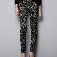 FLOCKED PRINTED TROUSERS - Trousers - TRF - New collection - ZARA United States