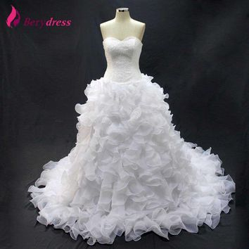 Berydress Full Beaded White Bridal Gown Real Pictures Ball Gown Ruffles Big Train Wedding Dresses Corset Lace up back