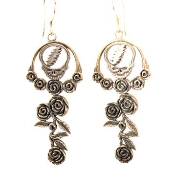 Handmade Sterling Silver Grateful Dead Steal Your Face with Roses Earrings
