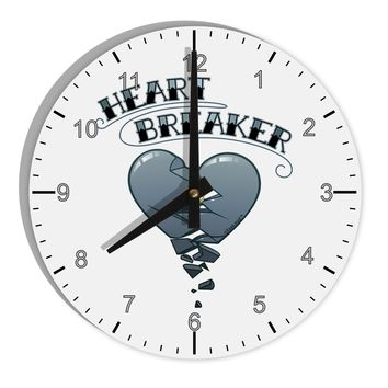 "Heart Breaker Manly 8"" Round Wall Clock with Numbers by TooLoud"