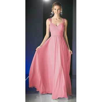 Beaded Cap Sleeves Sweetheart Bridesmaid Dress Rose Chiffon