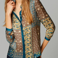 Tribe Pattern Shirt Collar Long Sleeve Blouse