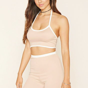 Contrast-Trim Halter Crop Top