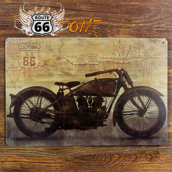 """Vintage Motorcycle Route 66 Tin Bar Sign 8"""" x 12"""""""