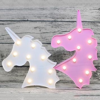 Pink/White Unicorn LED Light Lamps 10 Head Unicorn String Light Kid Happy Birthday Gifts Home Baby Room Decoratios Party Favors