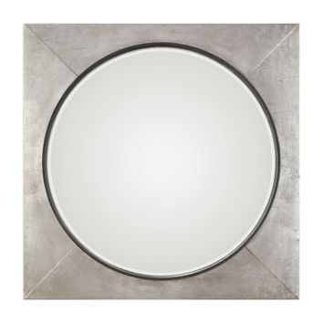 Solomon Contemporary Round in Square Frame Metallic Silver Leaf Wall Mirror by Uttermost