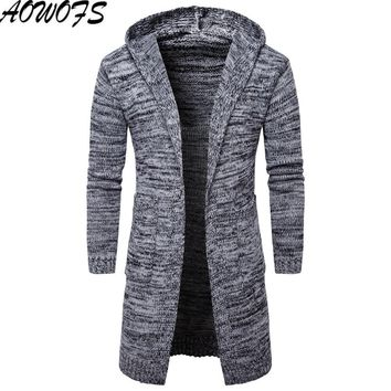 2017 arrival Men's medium-length Knitted cardigan warm Casual hooded Sweater Men solid knitwear Coats AWH040
