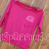 Monogrammed Ladies Raglan 3/4 length shirt by MiniSparrows on Etsy