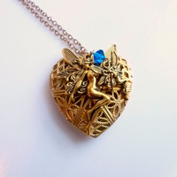 Filigree Heart Fairy Locket Necklace Pendant by FunkyMaMaJewelry
