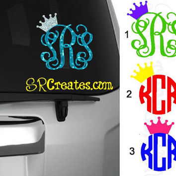 Personalized Script Monogram Decals with Crown - Glitter or Regular Vinyl, Many Sizes