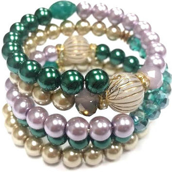 Emerald,Green, Lavendar,Gold, Beaded Coil Bracelet Wrap,Beaded Bracelet, Memory Wire Bracelet, Stretch, Handmade, Custom, Beaded Jewelry