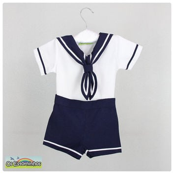 Baby boy outfit - Boy Sailor White cotton shirt and navy blue shorts - Baby boy Sailor outfit - 2 pieces  set