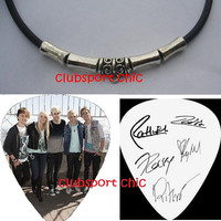 R5 ready set rock reprint signed guitar pick necklace glee riker lynch austin and ally