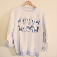 90's 80s College Sweatshirt University of Washington Huskies UW White  Sweatshirt Oversized Slouchy Comfy Size Large Printed inside out