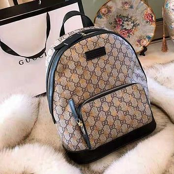 GUCCI High Quality Popular Woman Men Leather Bee Print Zipper Travel School Bag Shoulder Bag Backpack