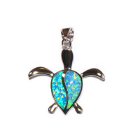INLAY OPAL HAWAIIAN HONU TURTLE PENDANT STERLING SILVER 925 SMALL MEDIUM LARGE