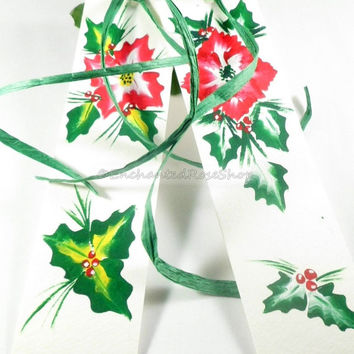 Red Poinsettia Handpainted Bookmark, Christmas Bookmarks, Book Lover Gift, Christmas Gifts, Stocking Stuffer Hand Painted Bookmarker
