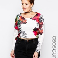ASOS CURVE Top In Texture With Floral Print