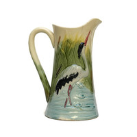 French Majolica Pitcher. Antique Ceramic Jug.