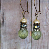 Ava ~ Vintage Sexy Shabby Romantic Earrings - Faceted Green Czech Glass Beads - Pearls - Aged Silver AB Rhinestones - Maddie Jean Vintage