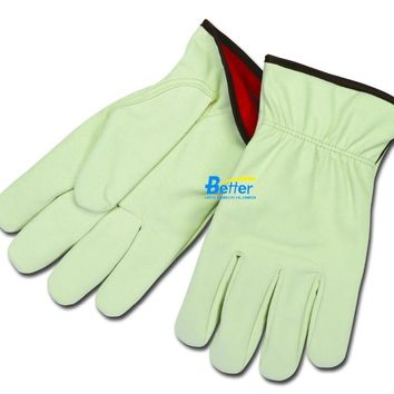 Winter Safety Glove Red Fleece Lining Leather Work Glove Synthetic Split Cowhide Leather Driver Gloves
