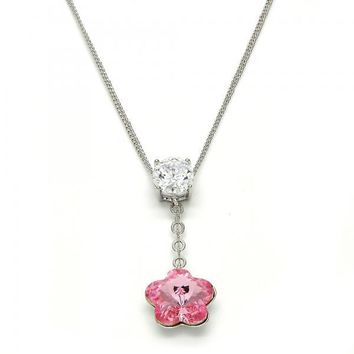 Gold Layered Fancy Necklace, Flower Design, with Swarovski Crystals and Cubic Zirconia, Rhodium Tone