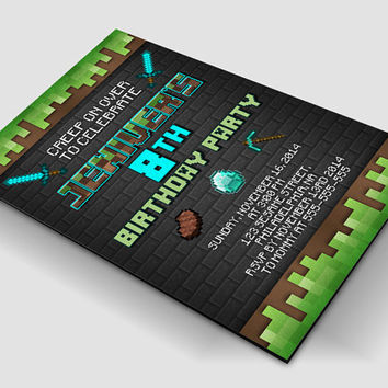 Birthday Invitation-Printable Invitation-Invitation-Birthday-Party-Efisiensi- Minecraft Birthday Wall Stone