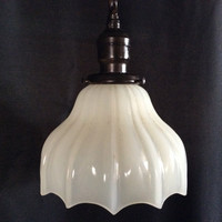 Vintage Antique Milkglass Pendant Hanging Light 1920 Art Deco
