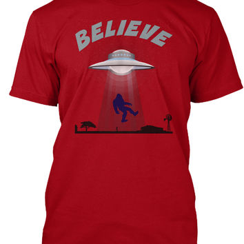 Bigfoot believers, yeti tee, UFO believe