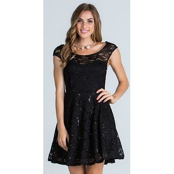 CLEARANCE - Lace Cap Sleeves Short Cocktail Dress Boat Neckline Black (Size L, XL)