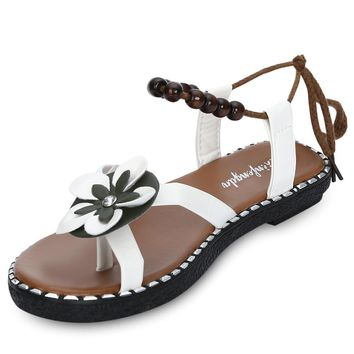 Trendy Toe Post Flower Bead Strap Women Sandals