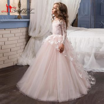 Arabic 2017 Pink and White Flower Girl Dresses for Weddings with 3D Floral Flowers Train First Communion Dress for Girls