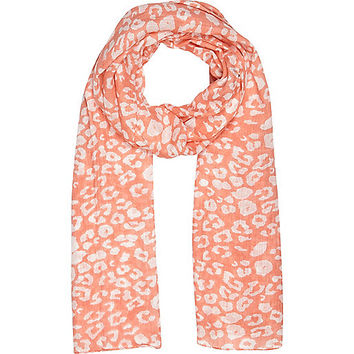 River Island Girls coral animal print scarf