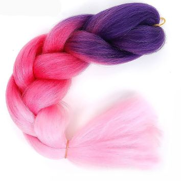 24inch Jumbo Braids Synthetic Kanekalon Hair Braids Ombre Braiding Hair Crochet Braids TpinkTpurple SHANGKE