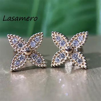 LASAMERO 0.194CTW Flower Created real Diamond Cluster Earrings 18K White Gold Diamond Stud Earrings Fine Jewelry Earring Studs