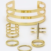 MIX RINGS & ICONIC METAL CUFF SET