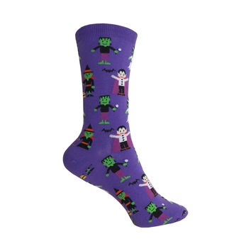 Happy Monsters Crew Socks in Purple