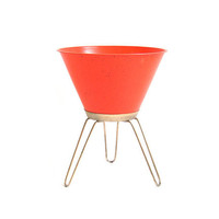 Vintage Bullet Planter Mid Century Modern Furniture Space Age Atomic Hairpin Legs Orange Plant Stand Fiber Glass Planter Retro Home Decor